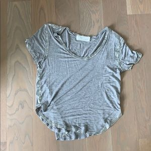 Grey t shirt with silver detail